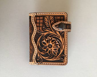 Floral tooled leather credit card holder sheridan
