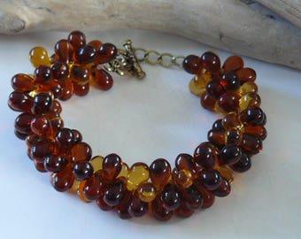"""""""Amber"""" drops beaded bracelet"""