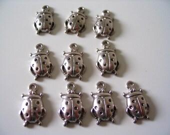 10 silver metallic ladybird charm