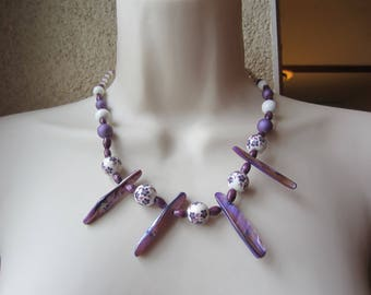 Purple ceramic and Pearl Necklace