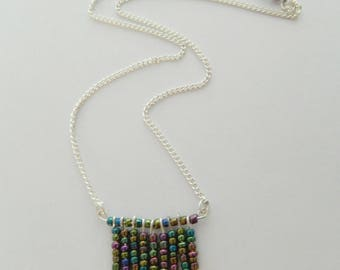 Fringe navajo necklace, seed beads