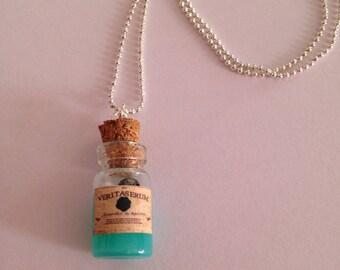 "liquid fimo, ""magic"" glass vial necklace"