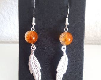 Earrings orange and silver feather earrings