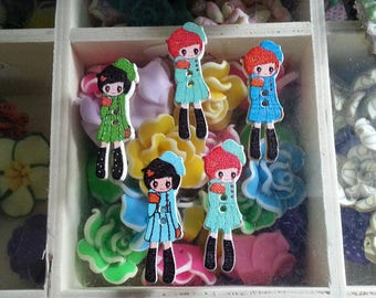 5 wooden buttons printed, 2-hole, beauty girl, dyed, color-multicolored, 35 x 12 x 3 mm, hole: 1 mm