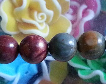 5 beads of Jasper picasso 8mm diameter, hole 1 mm