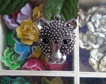 1 pet pendant alloy with Rhinestones, leopard / Cheetah, jet, 45 x 35 x 6 mm, hole: 4 mm