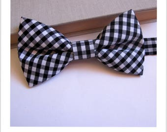 Vintage black and white Gingham Bow