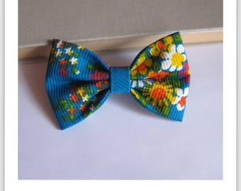 Bow tie, 2 in 1 vintage floral fabric hair clip