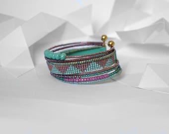 """Bracelet """"Swarm"""" ethnic turquoise and purple tones"""