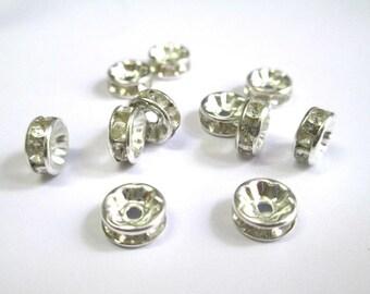 20 pearls tab clear RHINESTONE silver metal clear 7 mm - creation beads