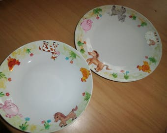 Flat plates and soup porcelain painted ponies, cow, sheep, pig, chicken pattern