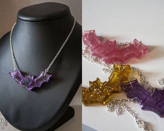 Glitter resin bat necklaces
