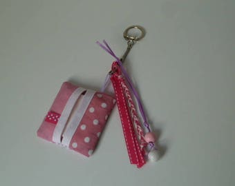 Pink Bisapomou: jewel bag with its tissue holder