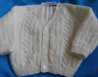 Hand knitted 4 ply V neck baby boys cardigan 0-3 months