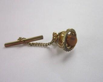 Vintage Gold Tone & Tiger Eye Stone Tie Tack