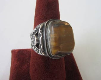 Antique Native American Sterling Silver & Tiger Eye Stone Large Ring