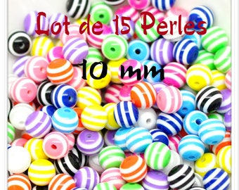 Set of 15 beads 10 mm acrylic mixed colors