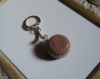 Jewelry bag or Keychain greed realistic macaron with cream vanilla coffee