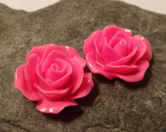 2 fuchsia flowers in resin 20mm ideal for creating