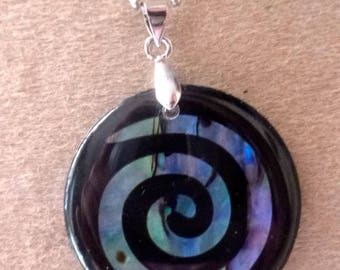 beautiful mother of Pearl pendant and abalone spiral