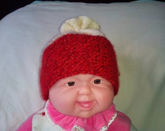 Bi-colors red melange and ecru Hat