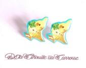 Puces d'oreille perruche jaune kawaii