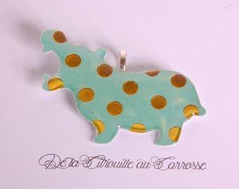 Green Hippo Golden dot pendant