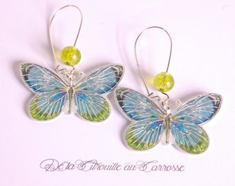 Apple green and turquoise butterfly earrings