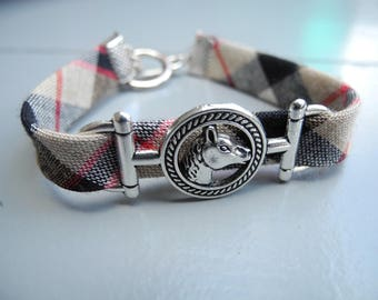 "Fabric print and insert bracelet ""horse"""