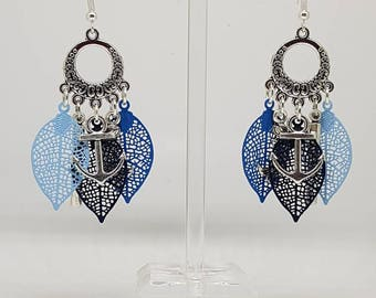 Lovely prints in shades of blue filigree earrings