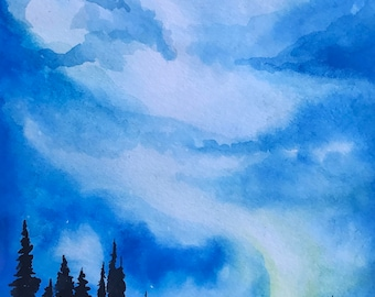 Night Sky Forest Landscape, Original Watercolor Painting, 9 x 12 watercolor paper