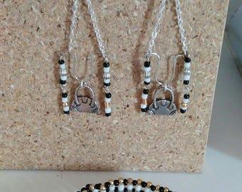 bracelet shape handbag with Pearl chain and earrings set