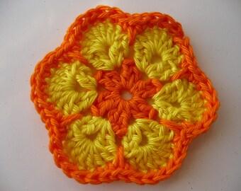 crochet cotton orange and yellow flower