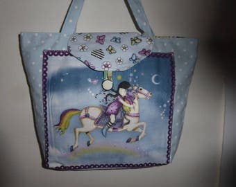bag for girl canvas small white dots on blue pattern gorjus