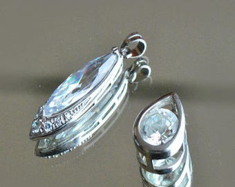 Crystal on rhodium silver plated pendants