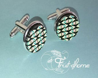 """Nice pair of cufflinks """"Gabrielle"""" silver metal and wood cabochons hand painted"""