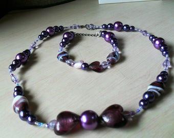 set (necklace and bracelet) fine, colorful, summer (purple)