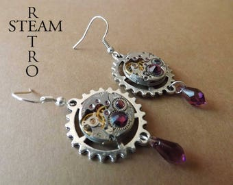 Crystal Swarovski earrings Steampunk watch movement