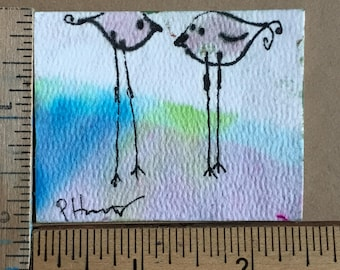 Friends with Feathers miniature painting OOAK