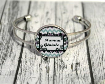 Mothers day jewelry bracelet MOM great MOM custom cabochon