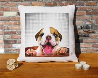 Bulldog Puppy  Pillow Cushion - 16x16in - White