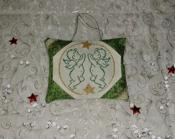 Embroidered door pillow, Christmas decoration depicting 2 Angels