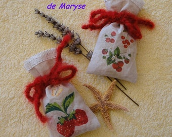 "Lavender sachets-2 ""fruits"" cotton + 1 women's gift"