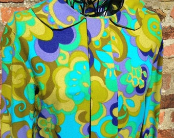 Psychedelic swinging 60's bold print shift dress