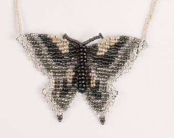 3D Silver Butterfly Beaded Necklace (Custom Colors)