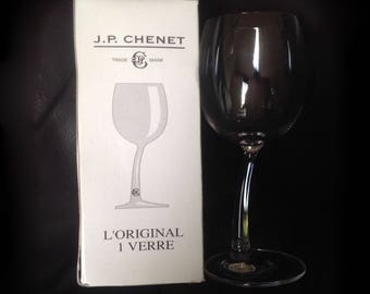 Vintage JP CHENET Original Wonky Wine Glass in Original Box