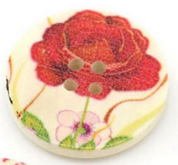 BBR30228 - 2 BUTTONS ROUND 30 MM WOODEN PATTERN WITH COLORS