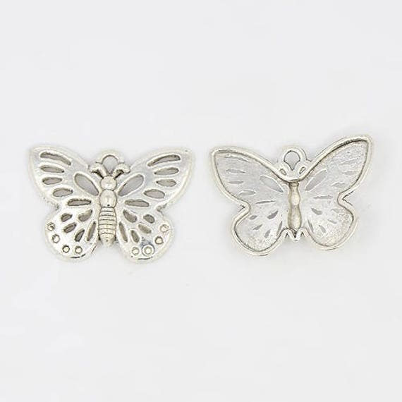 """Set of 5 """"Butterfly"""" Silver charm"""