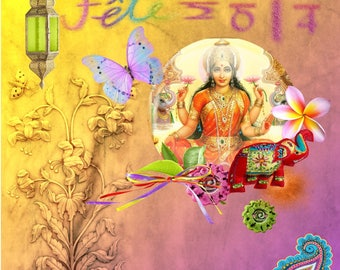 Greeting card of the new year in India, another way to pretty year