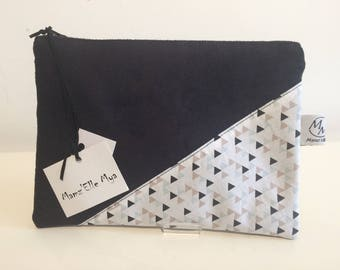 Black Suede pouch and printed cotton